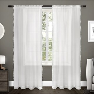 ATI Home Pom Pom Applique Sheer Rod Pocket Top Curtain Panel Pair (More options available)