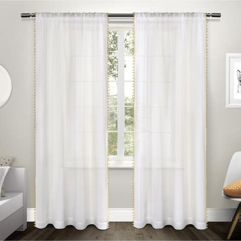The Gray Barn Dreamweaver Pom Pom Applique Sheer Rod Pocket Top Curtain Panel Pair