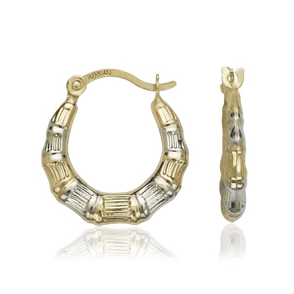 Shop 10k Gold Two Tone Small Bamboo Hoop Earrings White Free