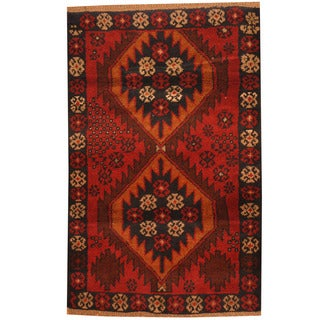 Herat Oriental Afghan Hand-knotted Tribal Balouchi Wool Rug (2'10 x 4'4)