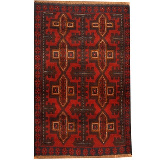 Herat Oriental Afghan Hand-knotted Tribal Balouchi Wool Rug (2'10 x 4'5)