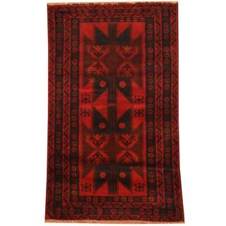 Herat Oriental Afghan Hand-knotted Tribal Balouchi Wool Rug (3'1 x 5')