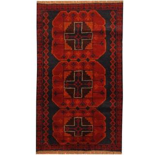 Herat Oriental Afghan Hand-knotted Tribal Balouchi Wool Rug (2'7 x 4'5)