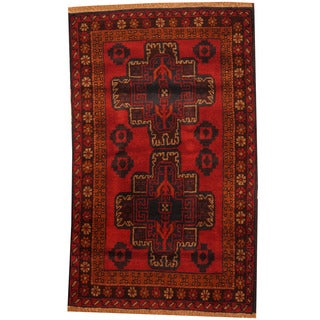 Herat Oriental Afghan Hand-knotted Tribal Balouchi Wool Rug (2'10 x 4'7)