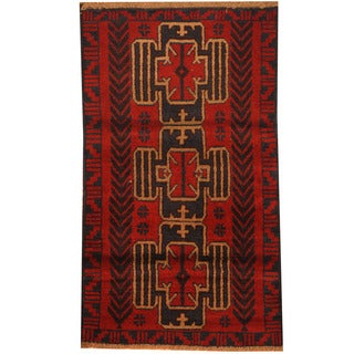 Herat Oriental Afghan Hand-knotted Tribal Balouchi Wool Rug (2'9 x 4'6)