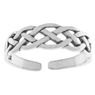 Carolina Glamour Collection Sterling Silver Open-weave Celtic Knot Adjustable Toe Ring