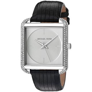 Michael Kors Women's MK2583 'Lake' Crystal Black Leather Watch
