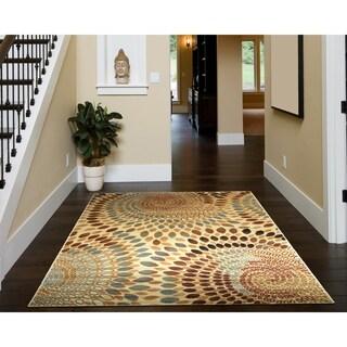 LNR Home Grace Cream Rectangle Plush Indoor Area Rug (7'9 x 9'5)
