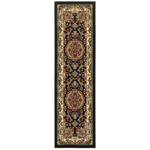 "LR Home Grace Traditional Black Indoor Area Runner Rug ( 2'1"" x 7'5"" ) - 2'1 x 7'5"