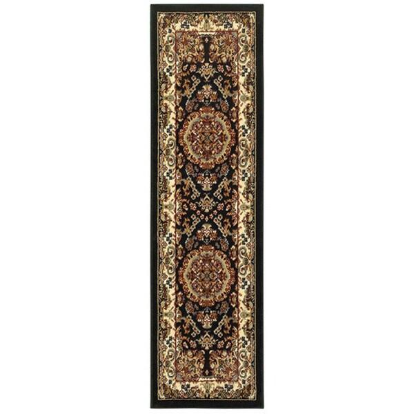 "LR Home Grace Traditional Black Indoor Area Runner Rug ( 2'1"" x 7'5"" ) - 2'1 x 7'5"