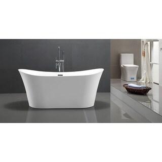 HelixBath Amathous 67-inch Freestanding White Acrylic Pedestal Bathtub