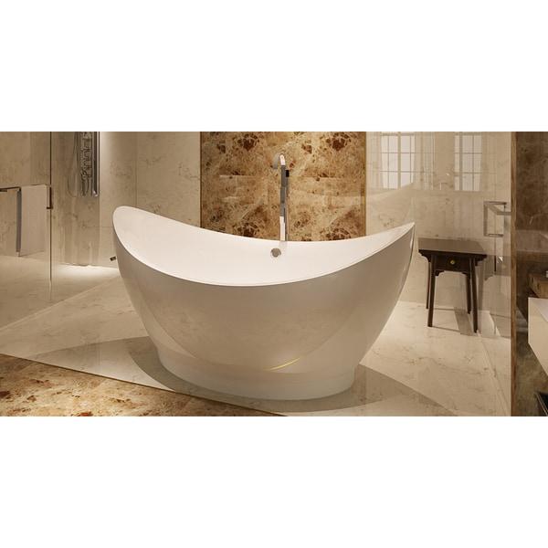 Shop HelixBath Eleusis Freestanding Overflow White Acrylic 67-inch ...