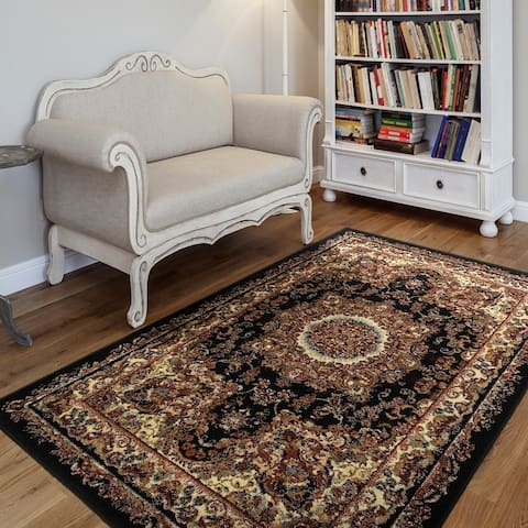 "LR Home Grace Traditional Black Indoor Area Rug ( 7'5"" x 9'5"" ) - 7'6 x 9'6"