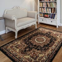 LR Home Grace Traditional Black Indoor Area Rug - 7'6 x 9'6