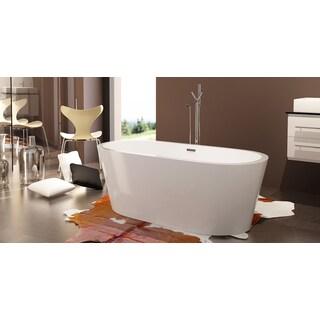 HelixBath Pella White Acrylic/ Stainless Steel Frame Rectangular Overflow  Freestanding Contemporary Bathtub