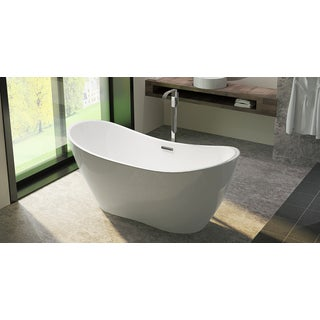 HelixBath Theadelphia Freestanding Overflow White Acrylic 71-inch Bathtub
