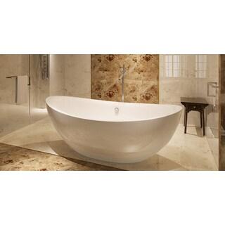 HelixBath Tholos Freestanding Pedestal Overflow 71-inch White Acrylic Bathtub