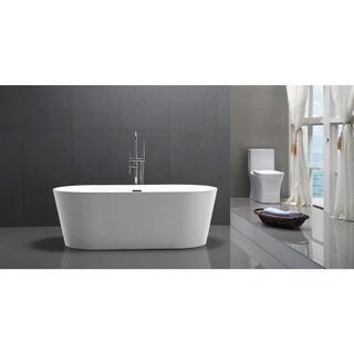 HelixBath Agora Freestanding White Acrylic 59-inch Soaking Bathtub
