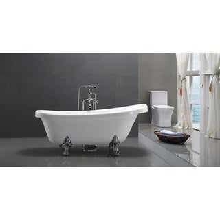 HelixBath Delos Freestanding White Acrylic 67-inch Clawfoot Soaking Bathtub