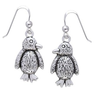 Carolina Glamour Collection Women's Sterling Silver Cute Baby Penguin Dangle Earrings