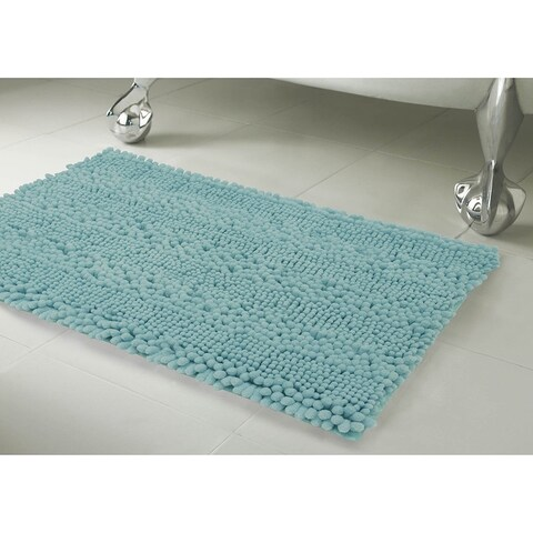 Laura Ashley Astor Striped Plush Chenille 2-Piece Bath Mat Set