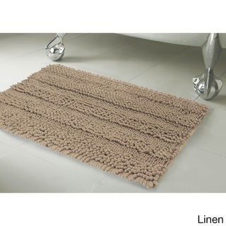 Laura Ashley Astor Striped Plush Chenille 2-Piece Bath Mat Set