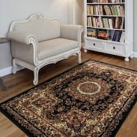 "LR Home Grace Traditional Black Indoor Area Rug ( 3'7"" x 5'6"" ) - 3'7 x 5'6"