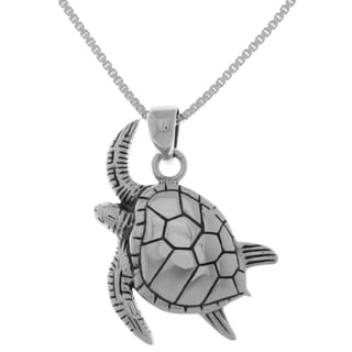 Carolina Glamour Collection Sterling Silver Swimming Sea Turtle Pendant on 18-inch Box Chain Necklace