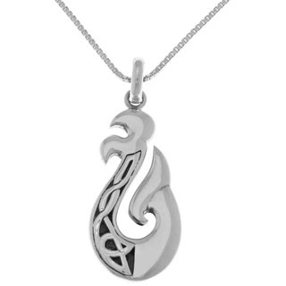 Carolina Glamour Collection Sterling Silver Celtic Knot Viking Dragon Tail 18-inch Pendant Necklace