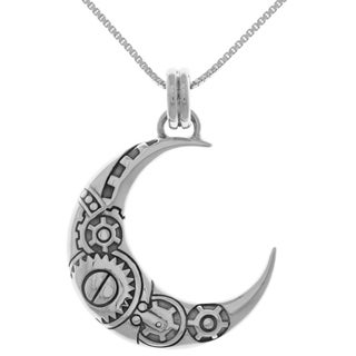 Carolina Glamour Collection Sterling Silver Steampunk Crescent Moon Pendant with 18-inch Box Chain