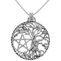 Sterling Silver Pentacle Tree of Life Pendant on 18-inch Box Chain Necklace