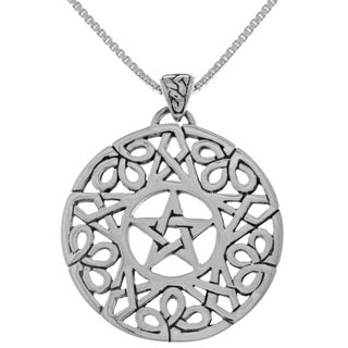 Carolina Glamour Collection Sterling Silver Pentacle with Celtic Knot Border Pendant on 18-inch Box Chain Necklace