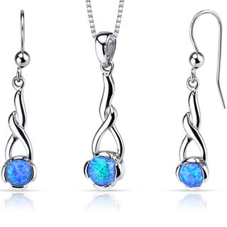 Oravo 2.00 ct Created Blue Opal Helix Stering Silver Pendant Earrings Necklace Set