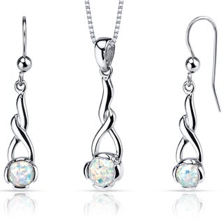 Oravo Sterling Silver 2ct TGW Created Opal Helix Jewelry Set