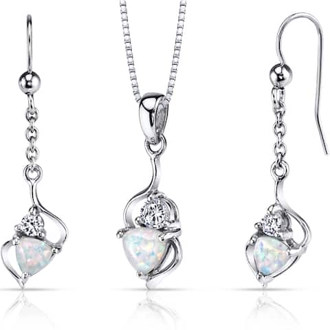 Oravo Sterling Silver 2ct TGW Created Opal Trillion Jewelry Set