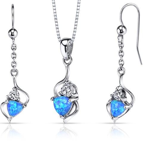 Oravo Sterling Silver 2ct TGW Creted Blue Opal Trillion Jewelry Set