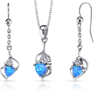 Oravo Sterling Silver 2ct TGW Creted Blue Opal Trillion Jewelry Set