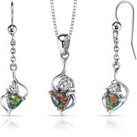 Oravo Sterling Silver 2ct TGW Created Black Opal Trillion Jewelry Set