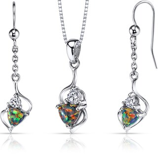 Oravo Sterling Silver 2ct TGW Created Black Opal Trillion Jewelry Set