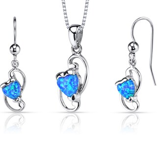 Oravo Sterling Silver 2ct TGW Created Blue Opal Heart Jewelry Set