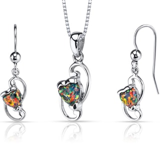 Oravo Sterling Silver 2ct TGW Created Black Opal Heart Jewelry Set
