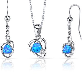 Oravo Sterling Silver 2ct TGW Created Blue Opal Lily Jewelry Set