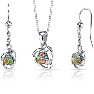 Oravo Sterling Silver 2ct TGW Created Black Opal Lily Jewelry Set