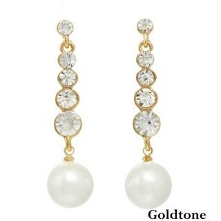 J&H Designs Stone Stick Pearl Drop Earrings (11-12mm)