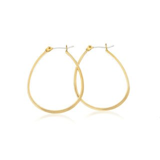 14k Yellow Gold Overlay Oval Saddleback Hoop Earrings