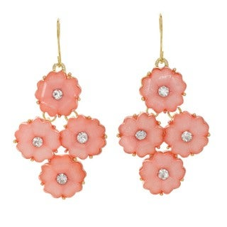 J&H Designs Floral Glitter Dangle Earrings