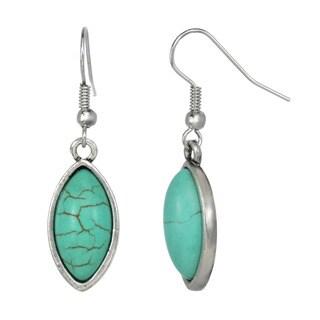 J&H Designs Silvertone Turquoise Oval Drop Earrings