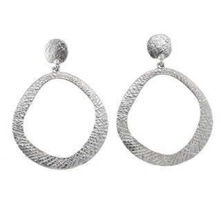 Etched Open Circle Drop Earrings