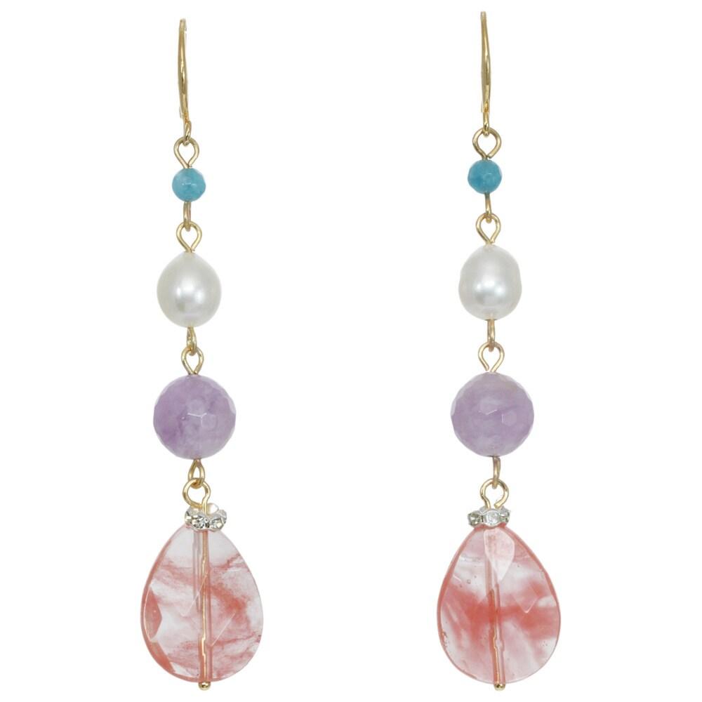 J&H Designs Mixed Gemstone Linear Drop Earrings (Multy), ...