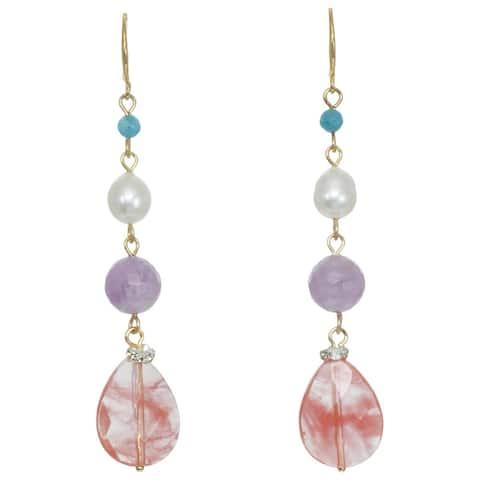 Mixed Gemstone Linear Drop Earrings